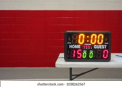 Game day indoor tabletop electronic scoreboard for high school wrestling, basketball or volleyball