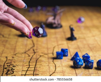 Game field of roleplaying party with dices and miniatures.