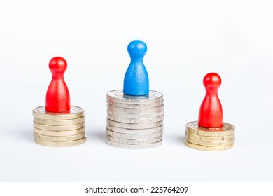 Game figurines on top symbolizing first place champion and financial success, on white