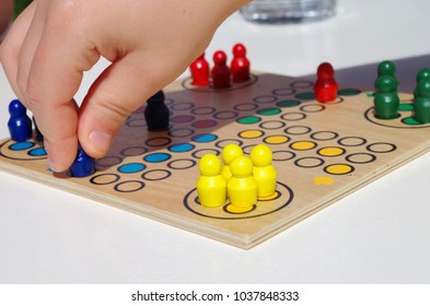 A game of ludo close up