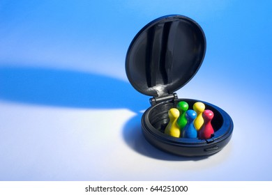 Game Pieces in Compact Case