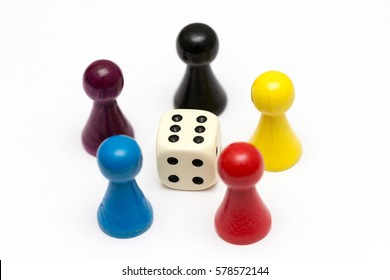 game pieces with dice isolated on white background