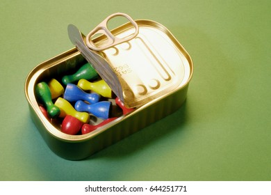 Game Pieces in Tin Can