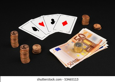 Game - Playing cards, aces and money - 2