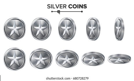 Game Silver Coin With Star. Flip Different Angles. Achievement Coin Icons, Sign, Success, Winner, Bonus, Cash Symbol. Illustration Isolated On White.