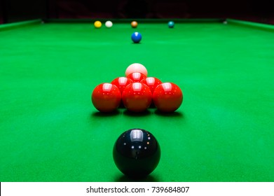 Game snooker six reds, snooker club in Thailand, selective focus