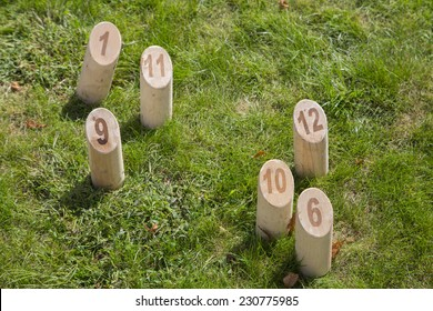 Game of Wooden pine sticks in the grass