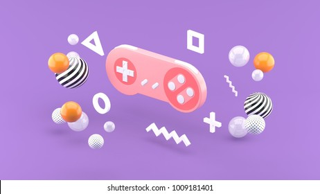 Gamepad floats between the balls on the purple background 3d render.