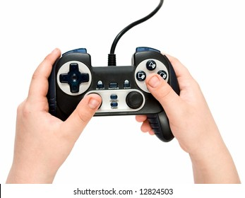 The gamepad in hands on a white background