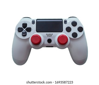 Gamepad with red sticks on a white background