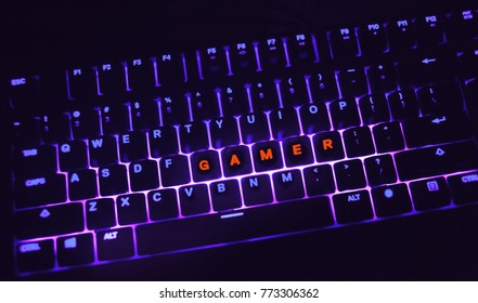 gamer computer keyboard with ultra backlight ,games concept