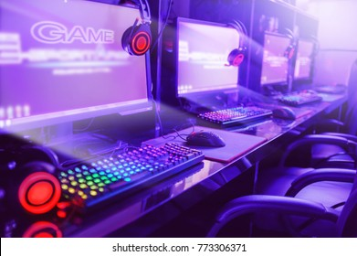 gamer computer online in internet cafe ,esports concept