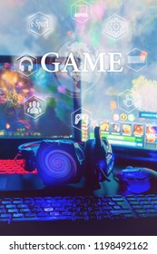 gamer workspace concept, game mechanism, mouse, keyboard headset, webcam, VR headset. Devices for cyber sport, e-sport on a black background table with digital symbols and text game.