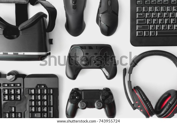 Gamer Workspace Concept Top View Gaming Stock Photo (Edit