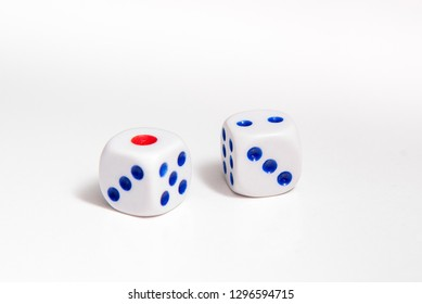 Games with dice. Casino object, white dise on white background
