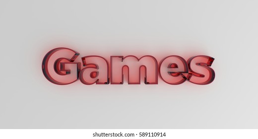 Games - Red glass text on white background - 3D rendered royalty free stock image.