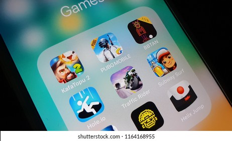 Games section on Iphone 6 - Many user addicted to play a game on smart phones and PUBG is a popular game at these times now - August 25 2018 Istanbul - Turkey
