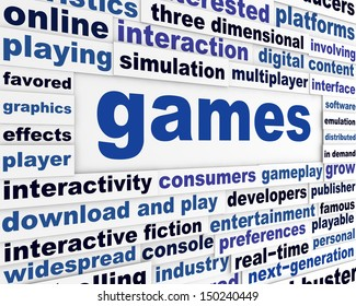 Games technological words poster. New technology creative conceptual design