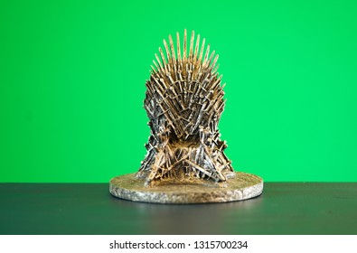 Games of Thrones HBO authorized replica of the Iron Throne on green chroma key greenscreen background. Adelaide, South Australia - February 6, 2019.