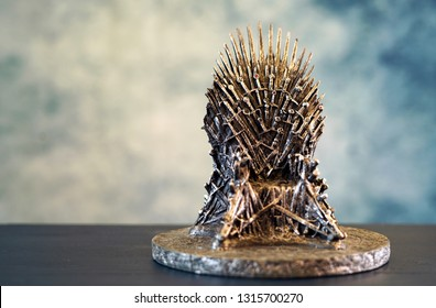 Games of Thrones HBO authorized replica of the Iron Throne with copy negative space. Adelaide, South Australia - February 6, 2019.