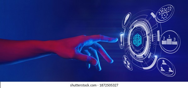 gamification and gaming technology illustration in neon style, hand touching dice icon, horizontal banner - Shutterstock ID 1872505327