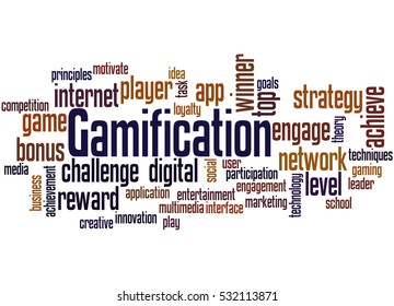 Gamification, word cloud concept on white background.