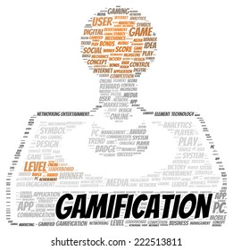 Gamification word cloud shape concept