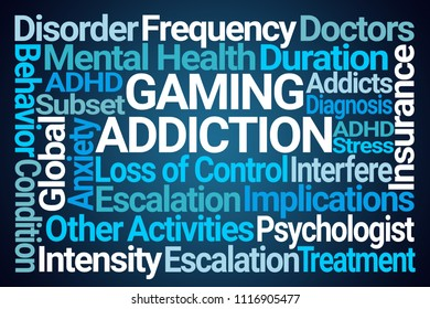 Gaming Addiction Word Cloud on Blue Background