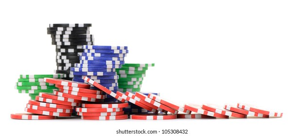 Gaming chips. Isolated on white background