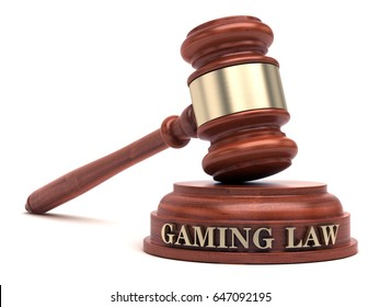 Gaming law text on sound block & gavel. 3d illustration