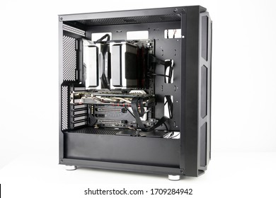 Gaming PC with big fans on the front. Computer assembled with hardware components