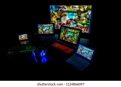 Gaming PC , headset and keyboard