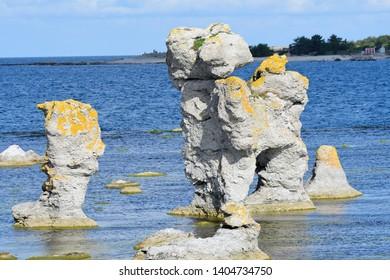 Gamla hamn in sweden on the island gotland. Faroe, geology.
