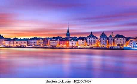 Gamla Stan island under colorful sunset sky, Stockholm, Sweden