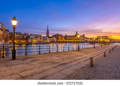 Gamla Stan in Stockholm, Sweden is lit by the light of the setting sun
