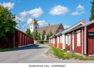 GAMMELSTAD, SWEDEN - AUGUST 9, 2018: Gammelstad church town outside Lulea in northern Sweden. The church town dates back to medieval times and is a UNESCO World Heritage site.