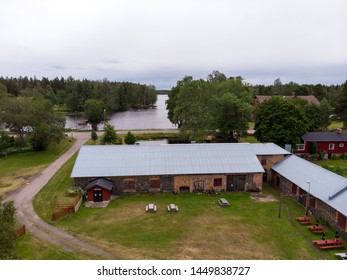 Gammelstilla / Sweden: July 04 2019: Aerial view of theatre in Gammelstilla, Gästrikland, Sweden. Famous and popular summer theater group Tors hammare. Taking place in a old building.