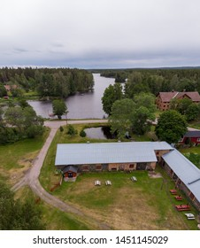 Gammelstilla / Sweden: July 04 2019: Aerial view of theatre in Gammelstilla, Gästrikland, Sweden. Famous and popular summer theater group Tors hammare. Taking place in a old smith building.