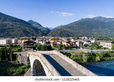 Ganda bridge, city of Morbegno. Valtellina