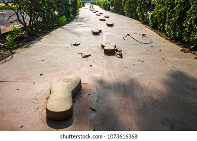 Gandhi memorial steps and stone. traces leading to the site of the murder of the father of the Indian nation Mahatma Gandhi. New Delhi. India.  27 January 2018