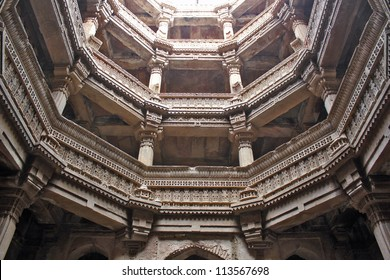 GANDHINAGAR, GUJARAT / INDIA - SEPTEMBER 18 : Adalaj Step Well ( Vav ) on September 18, 2012 in Gandhinagar. Inside view of the octagonal underground structure from fifth storey. Built in 1498 A.D.