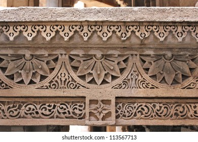 GANDHINAGAR, GUJARAT / INDIA - SEPTEMBER 18 : Adalaj Step Well ( Vav ) on September 18, 2012 in Gandhinagar. Beautiful stone carved frieze on the lintels throughout the step well. Created in 1498 A.D.