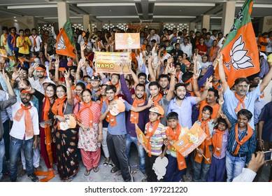 GANDHINAGAR, GUJARAT/INDIA - MAY FRIDAY 16 : BJP supporters celebrate victory on 16 May in BJP office Gandhinagar, India.