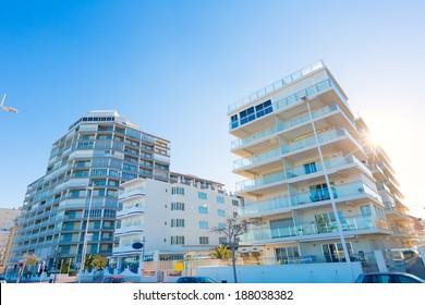 Gandia playa beach street buildings in Valencia at Mediterranean Spain