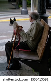 Gandia, Spain- May 5, 2017: Old man with walking stick and a dog on a pink leash sitting on brown wooden bench looking away.