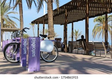 Gandia, Valencia/ Spain - 10-30-2019 SaforBici bike station at the beach walk in Gandia, Valencia/ Spain.