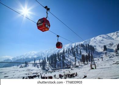Gandola Cable car in Gulmarg, Jammu and Kashmir, India