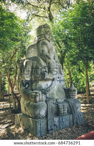 Ganesh Elephant God Statue In A Garden