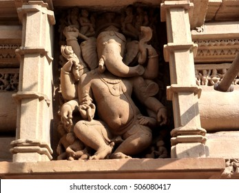 Ganesh, elephant headed son of Shiva,  Varaha Temple, Khajuraho in  India, Asia