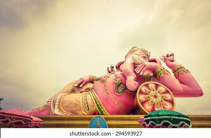 Ganesh statue in Chachoengsao province of thailand.